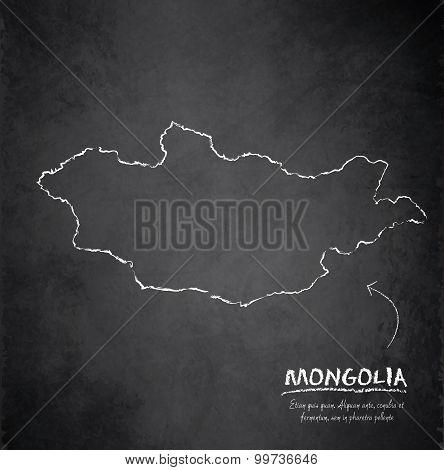Mongolia map blackboard chalkboard vector