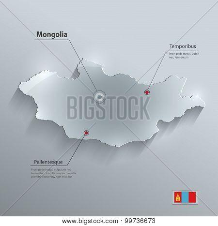 Mongolia map flag glass card paper 3D vector