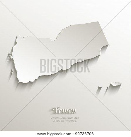 Yemen map card paper 3D natural vector