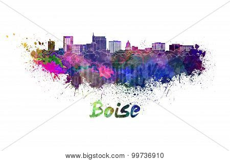 Boise Skyline In Watercolor