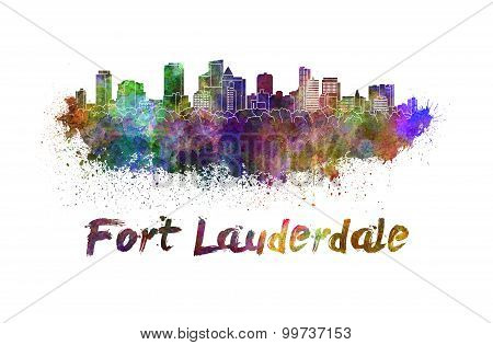 Fort Lauderdale Skyline In Watercolor