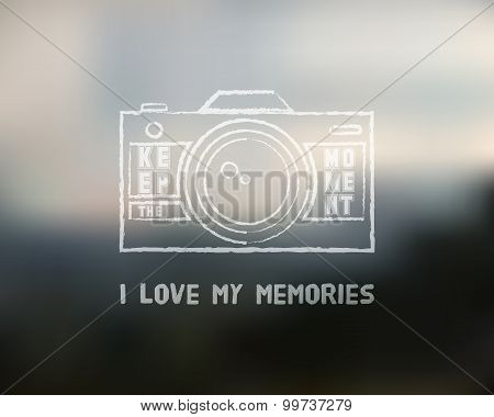 Shutter Icon or logo design template with key words. Camera and Lens badge. Keep the moment label. I