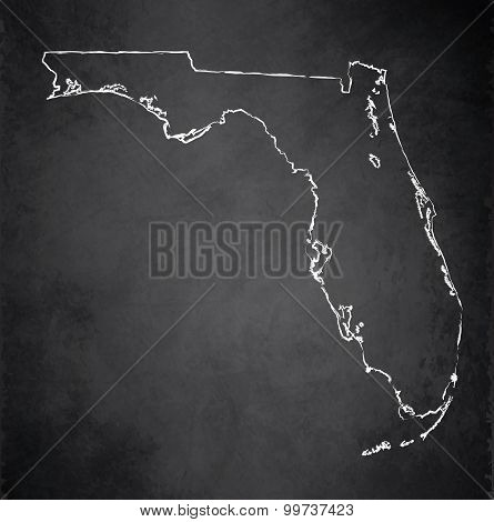 Florida map blackboard chalkboard raster