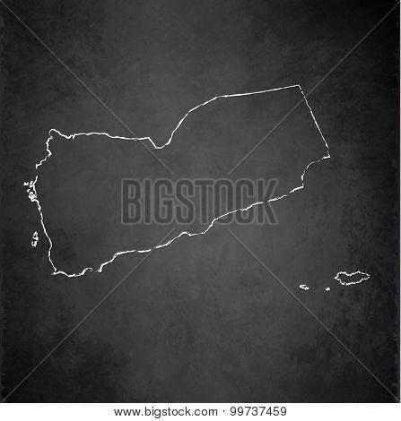 Yemen map blackboard chalkboard raster