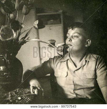 Vintage photo of young boy, 1950's