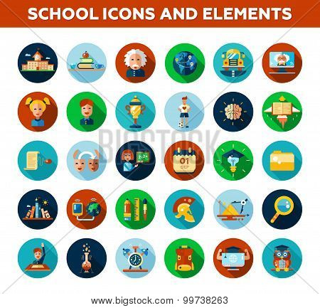 Set of school, college flat design icons and infographics elements. Back to school