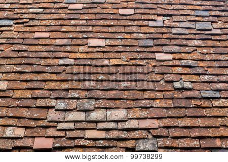 Old Tiles On A Roof Background