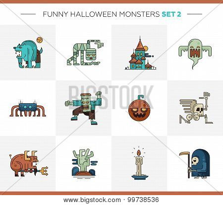 Set of Halloween line flat design modern icons and characters. Funny scary personages