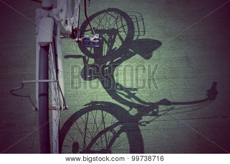 Vintage Bicycle With Shadow On Floor