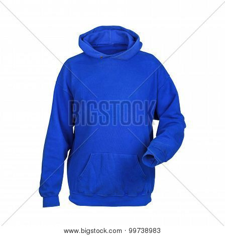Blue Sweatshirt With Hood Isolated On White Background