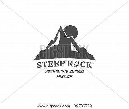 Vintage Mountain Badge, Outdoors Logo, Emblem And Label. Steep Rock Concept, Monochrome Design. Best