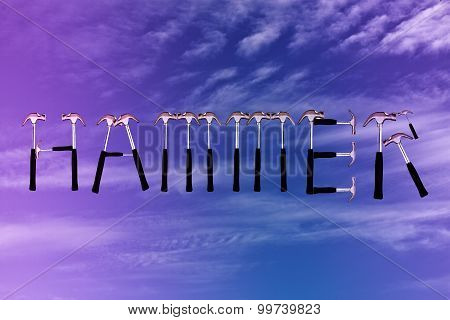 Hammer Text Made By Hammer On  Beautiful Cloud And Sky