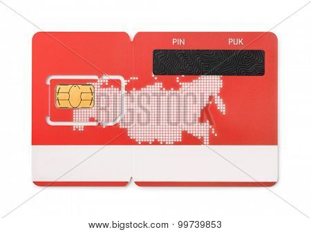 New red SIM card isolated on white