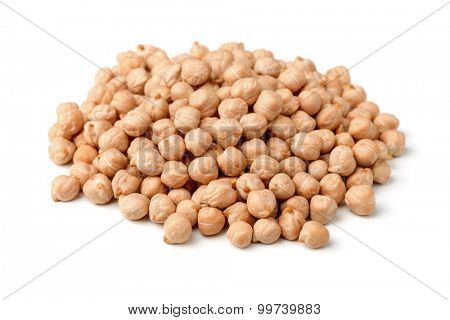 Heap of chickpea isolated on white