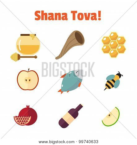 Shana Tova Rosh Hashanah, Jewish New Year Vector Icon Set