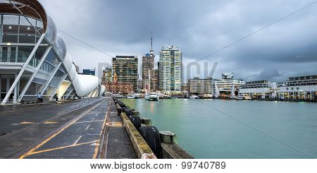 Auckland Cruise Port terminal and city skyline