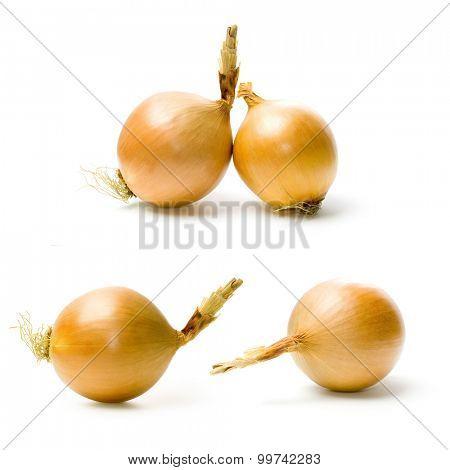 Onion set isolated on white.
