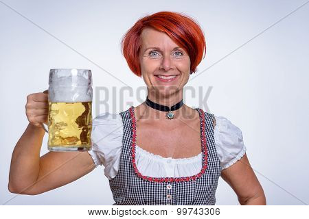 Happy Woman Holding A Mug Of Cold Beer