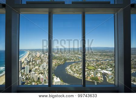 Aerial view of the Gold Coast as seen from the Q1 building