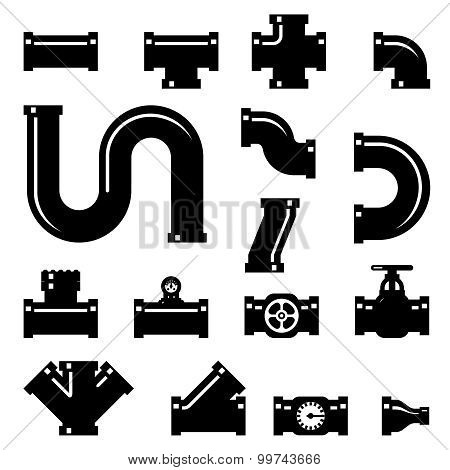 Pipe fittings vector icons set