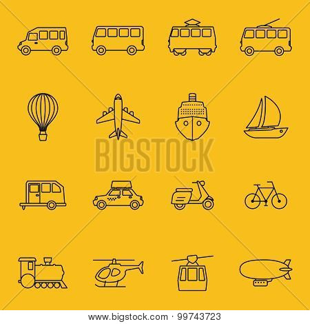 Vector thin line icons of transport