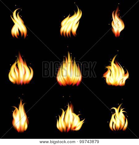 Set of vector realistic fire
