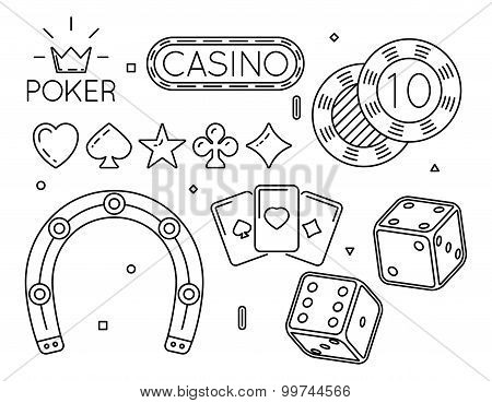 Vector set of casino and poker club line icons