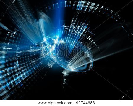 Abstract blue background. Detailed computer graphics