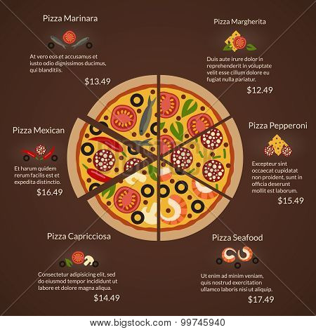 Round pizza with different sort slices and ingredients in flat vector style