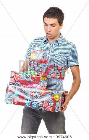Surprised Man With Heavy Gifts