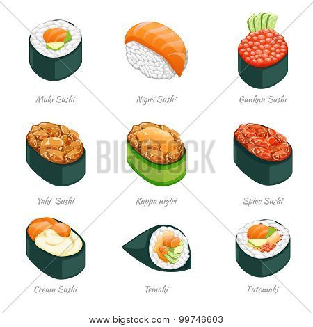 Sushi rolls vector icons