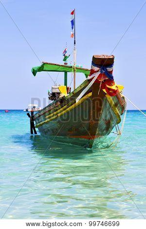 Boat Prow Asia In The  Kho Tao Bay Isle White