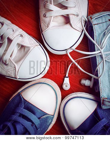 Stylish Sneakers And Headphones