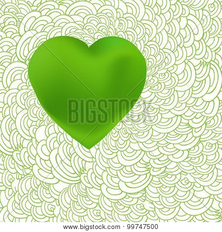 Green Heart At Waves Of Love