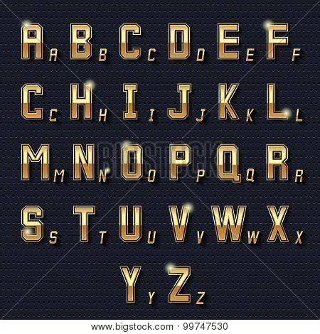 Vector retro golden alphabet