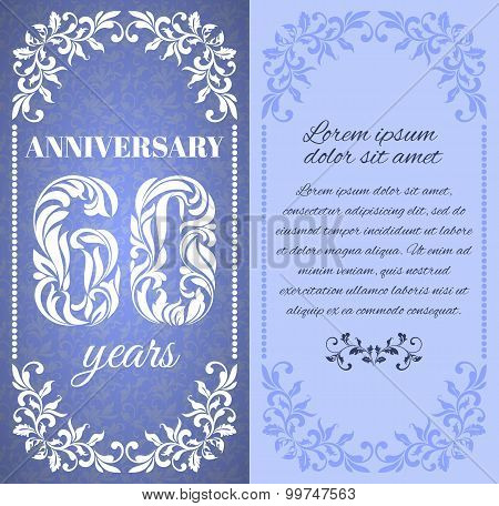 Luxury Template With Floral Frame And A Decorative Pattern For The 60 Years Anniversary. There Is A