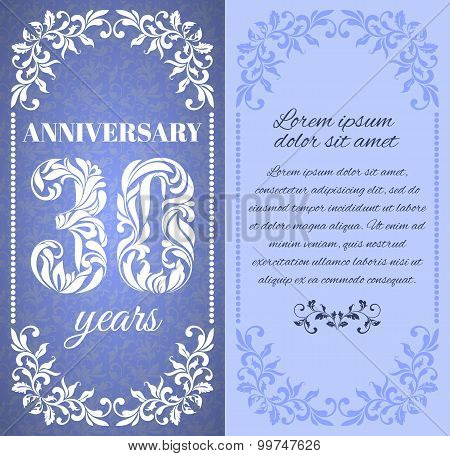 Luxury Template With Floral Frame And A Decorative Pattern For The 30 Years Anniversary. There Is A