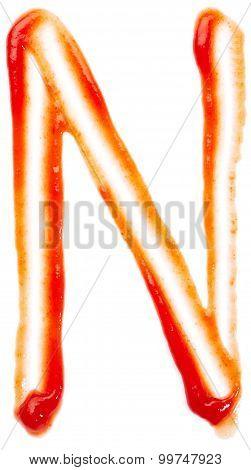 Alphabet of ketchup. Letter N
