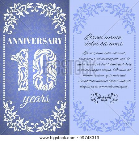 Luxury Template With Floral Frame And A Decorative Pattern For The 10 Years Anniversary. There Is A