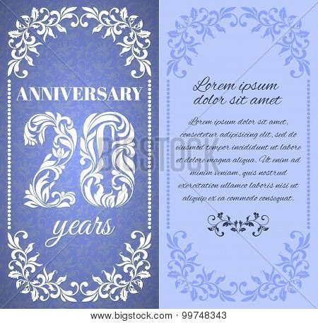 Luxury Template With Floral Frame And A Decorative Pattern For The 20 Years Anniversary. There Is A