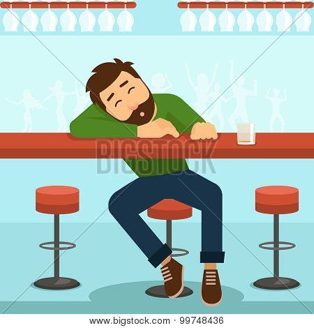 Drunk man vector illustration