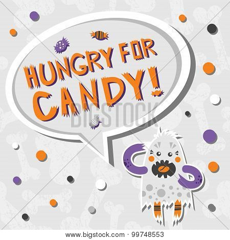 Vector Background With Shabby Bones Seamless Pattern. Scary, But Cute Halloween Hungry Monster