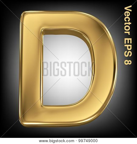 Vector letter D from gold solid alphabet. Eps 8 using mesh.
