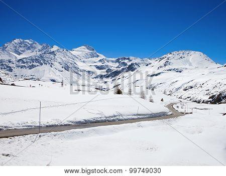 Mountain road in Swiss alps. Simplon Pass, Valais, Switzerland