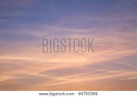 Cirrus Clouds In Evening Sky