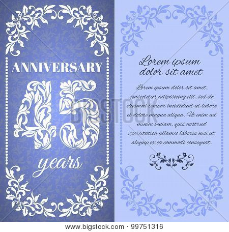 Luxury Template With Floral Frame And A Decorative Pattern For The 45 Years Anniversary. There Is A