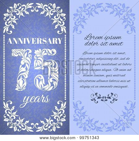 Luxury Template With Floral Frame And A Decorative Pattern For The 75 Years Anniversary. There Is A