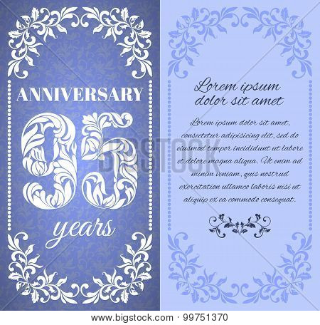 Luxury Template With Floral Frame And A Decorative Pattern For The 95 Years Anniversary. There Is A