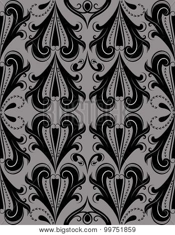 Seamless dark grey vintage pattern.