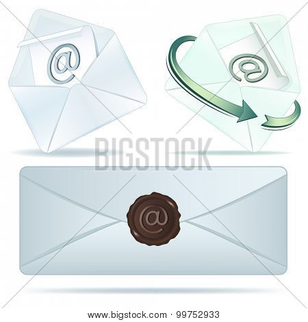 E-mail icons isolated on white background.